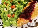 Рецепта Панирано пилешко месо в корнфлейкс с боровинки